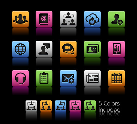 Business Network Technology -- ColorBox Series -- The Vector file includes 5 color versions for each icon in different layers -- Ilustracja