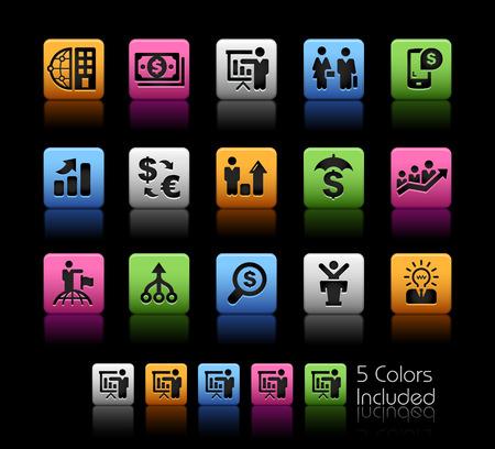 icone: Affari e finanza Strategie - ColorBox Series - il file vettoriale comprende 5 versioni di colore per ogni icona in diversi strati - Vettoriali