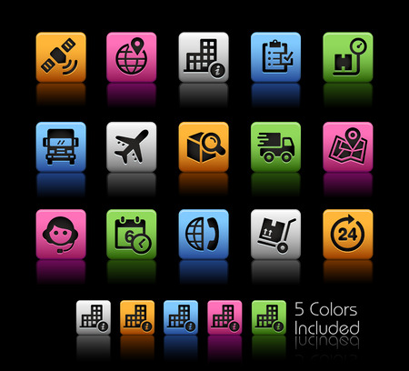 telephonist: Shipping and Tracking Icons -- ColorBox Series -- The Vector file includes 5 color versions for each icon in different layers --