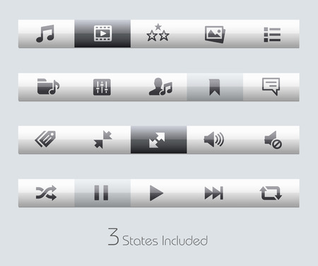 Web and Mobile buttons states in different layers.