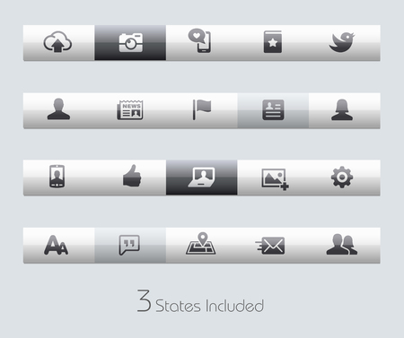 web buttons: Social Web buttons states in different layers. Illustration