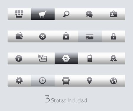 market place: Online Store buttons states in different layers. Illustration