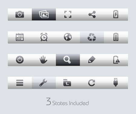 interface menu tool: Web and Mobile buttons states in different layers.