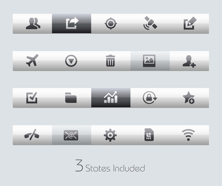 icon phone: Web and Mobile buttons states in different layers.