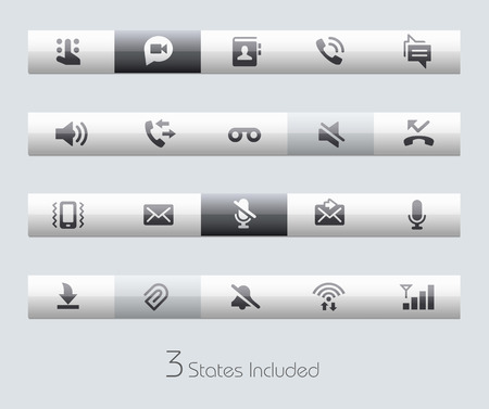 voice recorder: Web and Mobile buttons states in different layers.