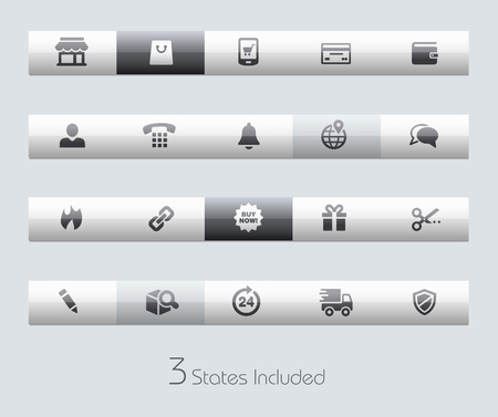 open flame: e-Shop buttons states in different layers. Illustration