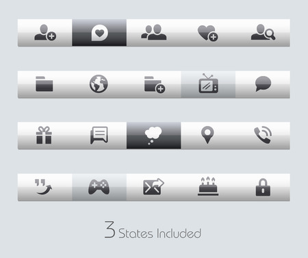 gift icon: Social Communications buttons states in different layers.
