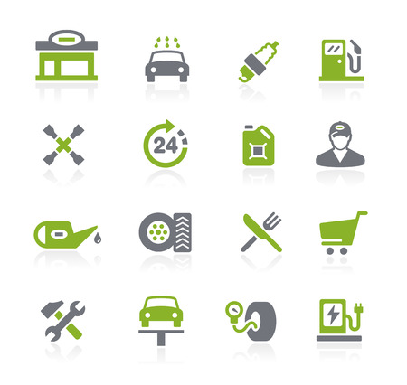 Gas Station Icons -- Natura Series 일러스트