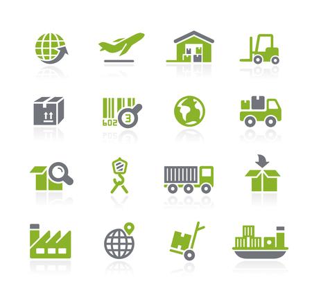 giao thông vận tải: Công nghiệp và Logistics Icons - Natura series Hình minh hoạ