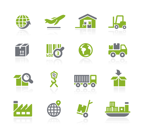 comercio: Industria y Logística Iconos - Serie Natura Vectores