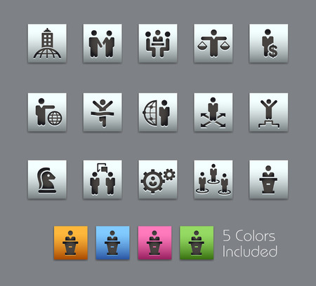 color consultant: Business Success -- Satinbox Series -- The Vector file includes 5 color versions for each icon in different layers -- Illustration
