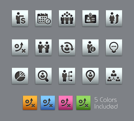 conquer: Business Efficiency -- Satinbox Series -- The Vector file includes 5 color versions for each icon in different layers -- Illustration