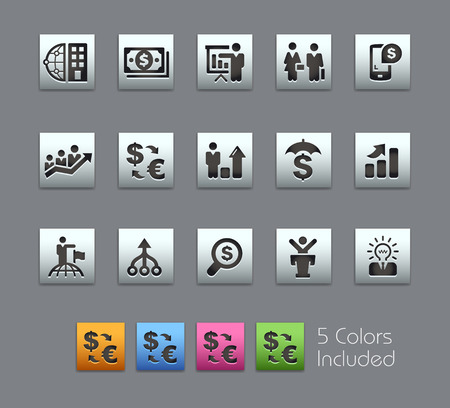 headquarter: Business and Finance -- Satinbox Series -- The Vector file includes 5 color versions for each icon in different layers --