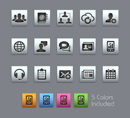 web site: Business Technology Icons -- Satinbox Series -- The Vector file includes 5 color versions for each icon in different layers --
