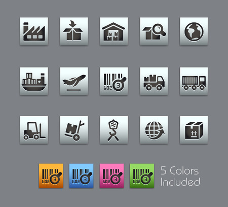 camion: Industry and Logistics Icons -- Satinbox Series -- The Vector file includes 5 color versions for each icon in different layers --