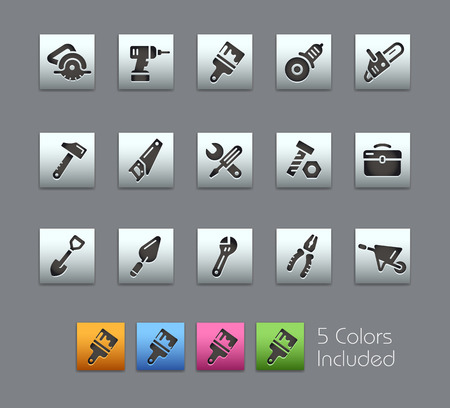 gimlet: Tools Icons -- Satinbox Series -- The Vector file includes 5 color versions for each icon in different layers --