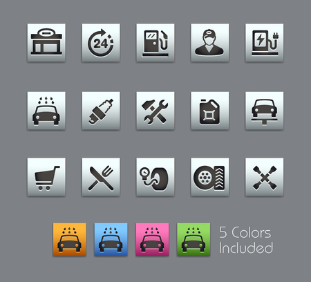 includes: Gas Station Icons -- Satinbox Series -- The Vector file includes 5 color versions for each icon in different layers -- Illustration
