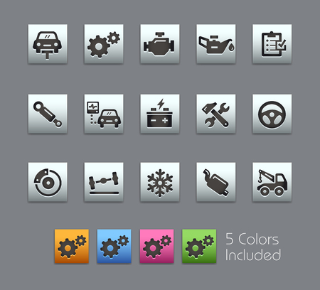 exhaust pipe: Car Service Icons -- Satinbox Series -- The Vector file includes 5 color versions for each icon in different layers --