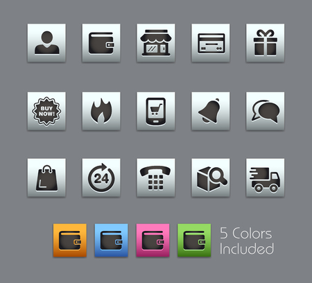 eshop: e-Shop Icons -- Satinbox Series -- The Vector file includes 5 color versions for each icon in different layers --