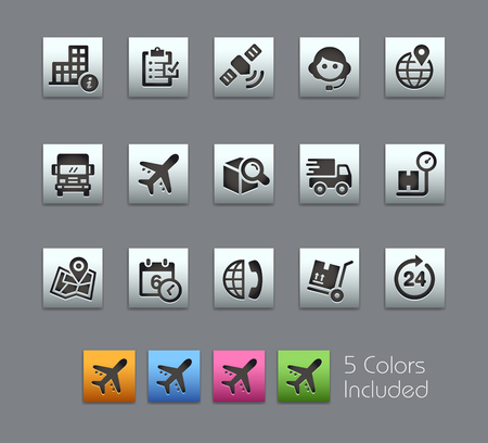 tracking: Shipping and Tracking Icons -- Satinbox Series -- The Vector file includes 5 color versions for each icon in different layers --