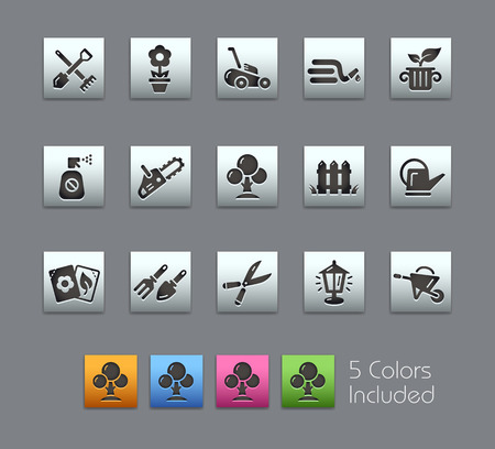 garden hoses: Gardening Icons -- Satinbox Series -- The Vector file includes 5 color versions for each icon in different layers --
