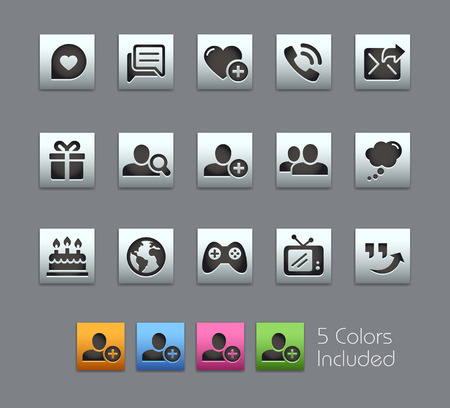 communications: Social Communications Icons -- Satinbox Series -- The Vector file includes 5 color versions for each icon in different layers --