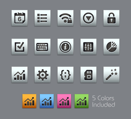 configure: System Settings Interface -- Satinbox Series -- The Vector file includes 5 color versions for each icon in different layers --