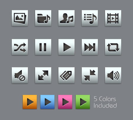 includes: Media Player Icons -- Satinbox Series -- The Vector file includes 5 color versions for each icon in different layers -- Illustration