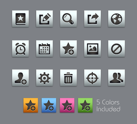 schedule system: Communications Interface Icons -- Satinbox Series -- The Vector file includes 5 color versions for each icon in different layers --