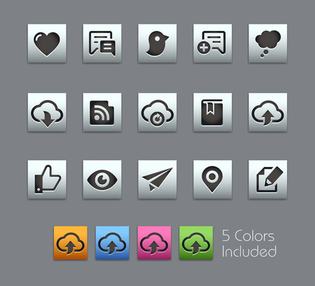 communications: Social Sharing and Communications -- Satinbox Series -- The Vector file includes 5 color versions for each icon in different layers -- Illustration