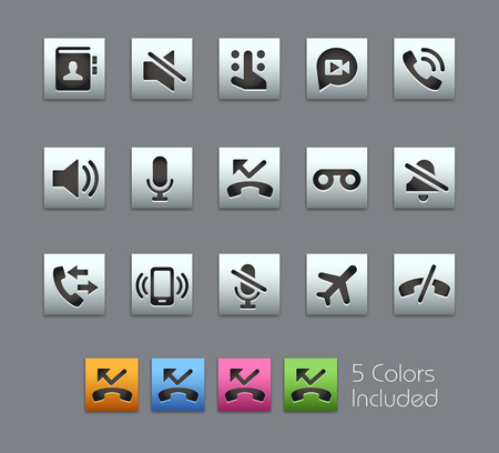includes: Phone Calls Interface Icons -- Satinbox Series -- The Vector file includes 5 color versions for each icon in different layers --