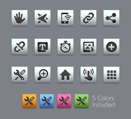 3d icons: System Icons Interface -- Satinbox Series -- The Vector file includes 5 color versions for each icon in different layers --