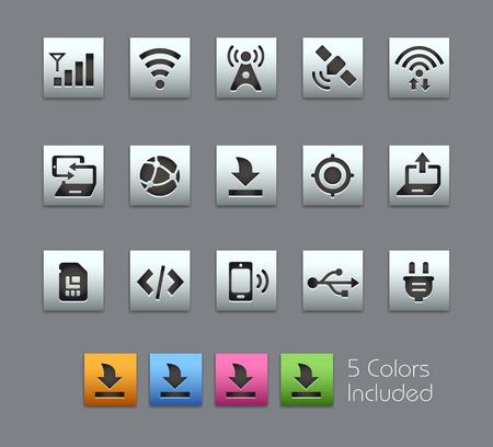 conectividad: Conectividad iconos - Serie Satinbox - El archivo vectorial incluye 5 versiones del color para cada icono en diversas capas -