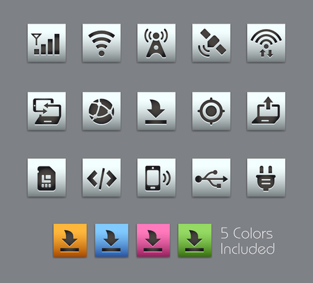 connectivity: Connectivity Icons -- Satinbox Series -- The Vector file includes 5 color versions for each icon in different layers --