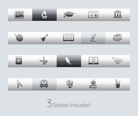 middle school: Education file includes 3 buttons states in different layers.