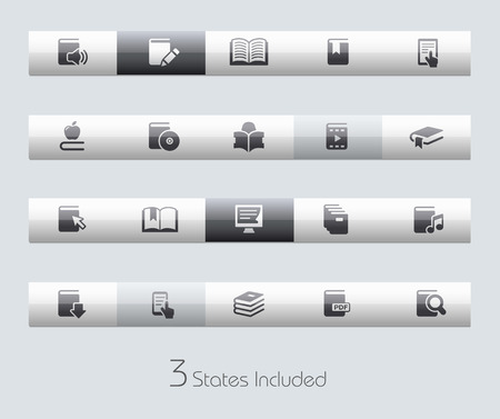 includes: Books file includes 3 buttons states in different layers. Illustration