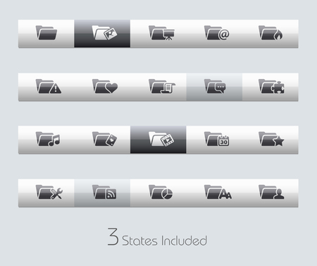 interface menu tool: Folders 2 of 2 file includes 3 buttons states in different layers.