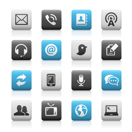 telecommunication: Telecommunications Icons - Matte Series Illustration