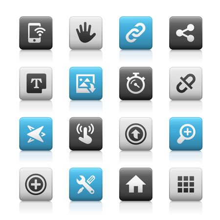 telecommunications technology: Web and Mobile Icons 10 - Matte Series Illustration