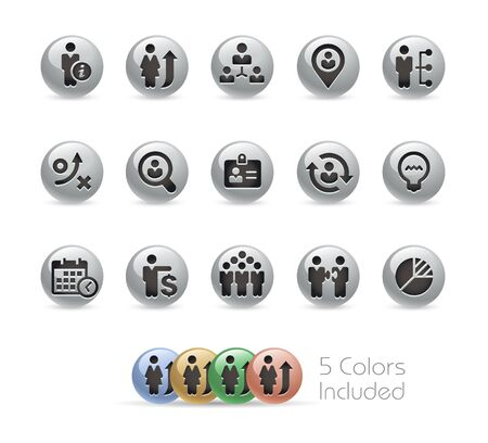 business efficiency: Business Efficiency Icons -- Metal Round Series