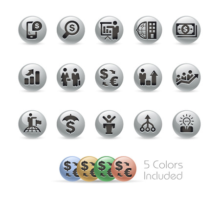 headquarter: Financial Strategies Icons -- Metal Round Series Illustration