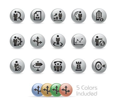 headquarter: Business Strategies Icons -- Metal Round Series