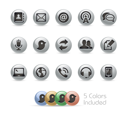 communications: Communications Icons -- Metal Round Series