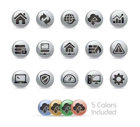 通信: Web 開発者のアイコン - 金属のラウンド シリーズ