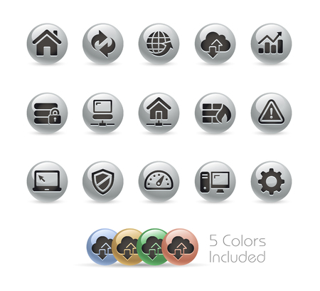 web developer: Web Developer Icons -- Metal Round Series Illustration