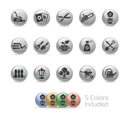 Gardening Icons -- Metal Round Series Illustration