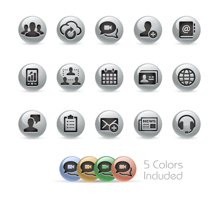 round: Business Technology Icons -- Metal Round Series