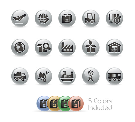import trade: Industry and Logistics Icons -- Metal Round Series