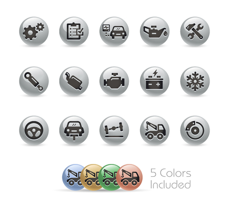 assistance: Car Service Icons -- Metal Round Series