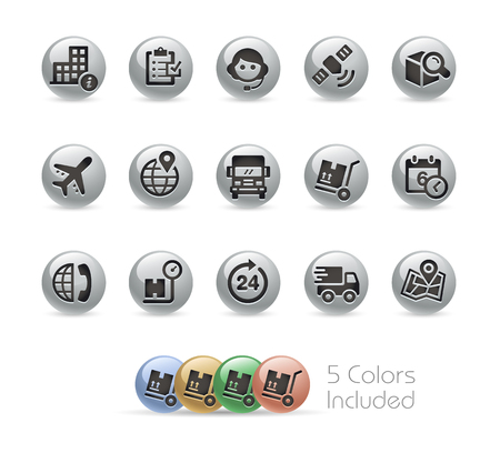 tracking: Shipping and Tracking Icons -- Metal Round Series